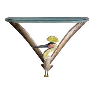 1980s Gérard Rigo Bird Painted Wood Console Table For Sale