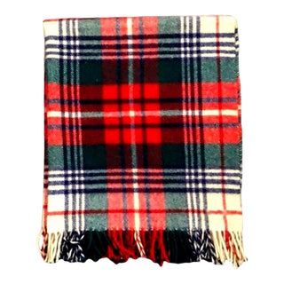 Vintage Tartan Plaid Virgin Wool Fringe Decorative Blanket For Sale