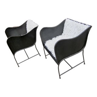 Early 21st Century Vintage Gunmetal Gray Industrial Custom-Made Craftsman Brutalist Chairs- A Pair For Sale