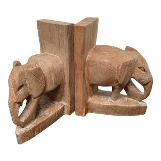 Hand Carved African Elephant Bookends - a Pair For Sale