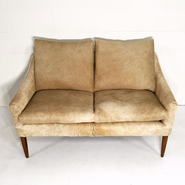 Animal Skin Forsyth One of a Kind Danish Loveseat in Brazilian Cowhide For Sale - Image 7 of 7
