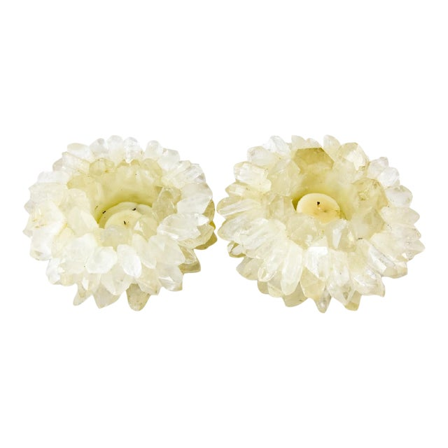 Mid 20th Century Handmade Quartz Crystal Candle Holders - a Pair - a Pair For Sale
