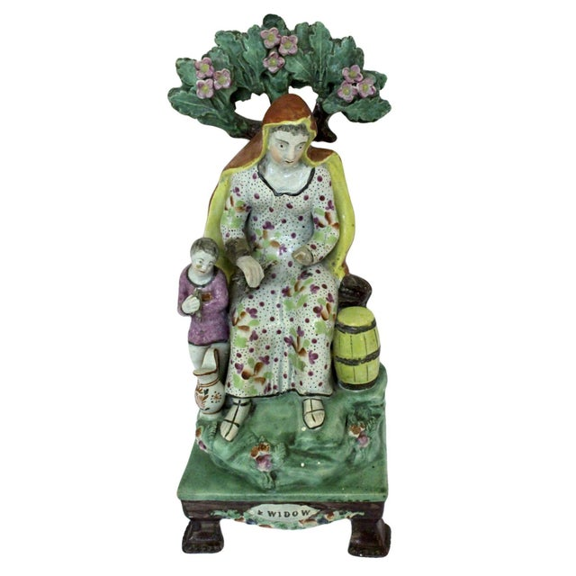 """Green 1820s Staffordshire """"Widow"""" Figure For Sale - Image 8 of 9"""