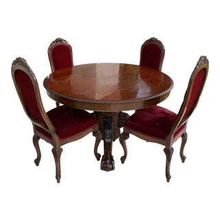 Antique American Classical Claw Foot Table Dining Set - 5 Pieces For Sale