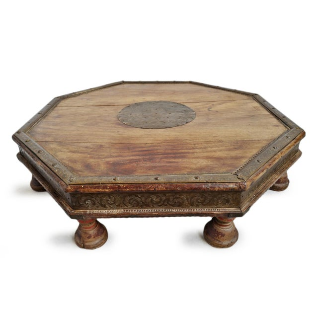 Antique India Bajot table. Beautiful signs of age and use. Classic traditional octagon stepping table originally used for...