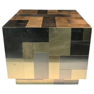 UNUSUAL CUBE-SHAPED BRASS AND CHROME PATCHWORK TABLE BY PAUL EVANS For Sale