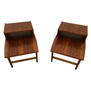 Lane Walnut Lamp Tables - A Pair