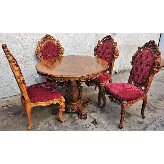 Italian Antique Carved & Inlaid Rococo Revival Italian Round Dining Set-Set of 5 For Sale - Image 3 of 13