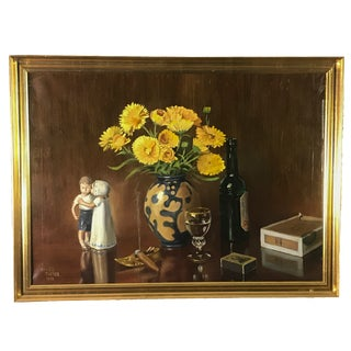 1958 Danish Humorous Still Life Oil Painting by Hugo Tietze, Framed For Sale