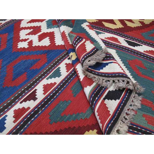 "Blue ""Primary Colors,"" Antique Kazak Kilim For Sale - Image 8 of 10"