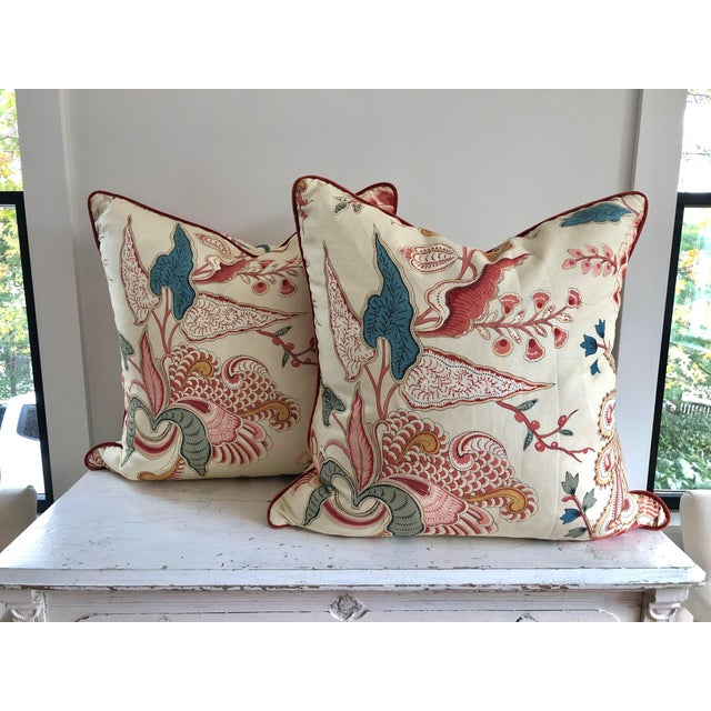 Feather Jacobean Clarence House Floral Euro Pillows - a Pair For Sale - Image 7 of 7