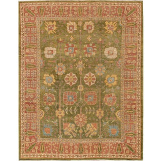 "Modern Turkish Oushak Rug - 9'10"" x 12'7"""