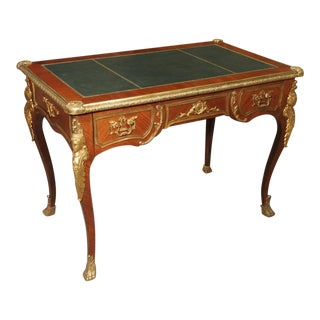 Circa 1900 French Louis XV Style Bureau Plat Writing Desk For Sale