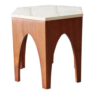 Harvey Probber Mid-Century Modern Walnut and Travertine Hexagonal Side Table For Sale