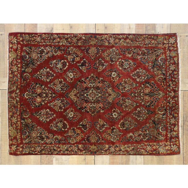 Red Antique Sarouk Persian Rug With Traditional Style - 03'04 X 04'08 For Sale - Image 8 of 10