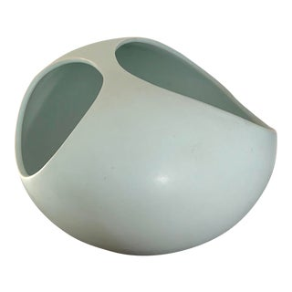 Mid Century Modern Organic Contemporary Light Blue Ceramic Planter For Sale