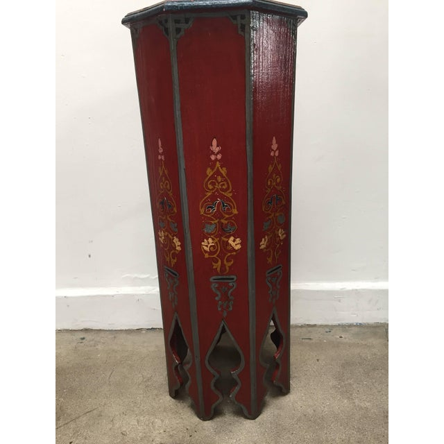 Boho Chic Pair of Hand-Painted Moroccan Pedestal Octagonal Shape Table With Moorish Arches For Sale - Image 3 of 13
