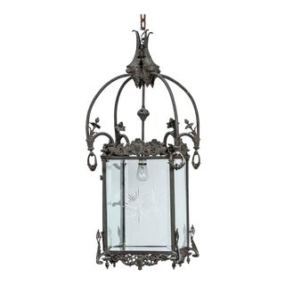 1930s Bronze Lantern With Etched Glass For Sale