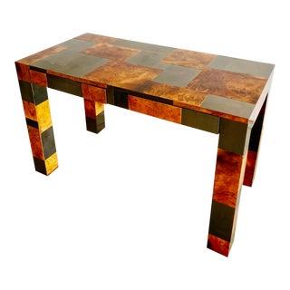 "Paul Evans Original ""Cityscape"" Desk in Burl Walnut & Chrome"