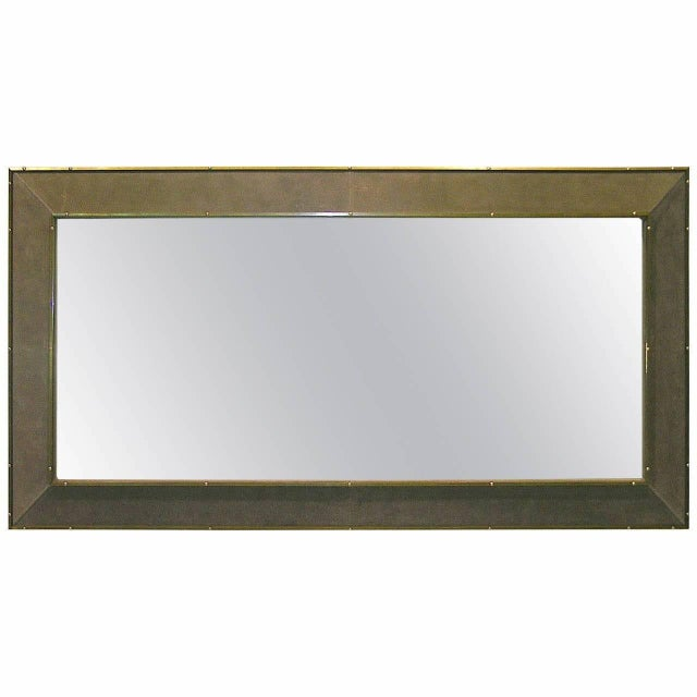 1970s Italian Suede Leather Floor Mirror With Modern Bronze Accents For Sale - Image 10 of 11