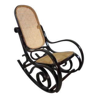 Thonet Style Wood & Caned Rocking Chair For Sale