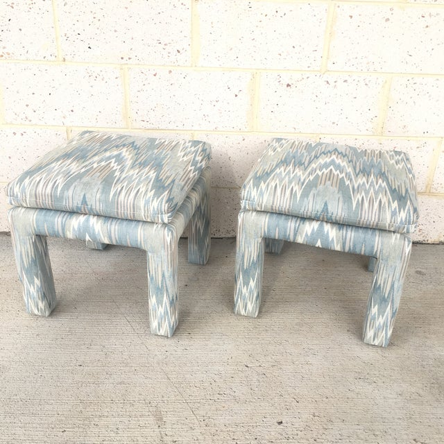 Vintage Parsons Stools Upholstered in Designer Flame Stitch Fabric - a Pair - Image 8 of 8