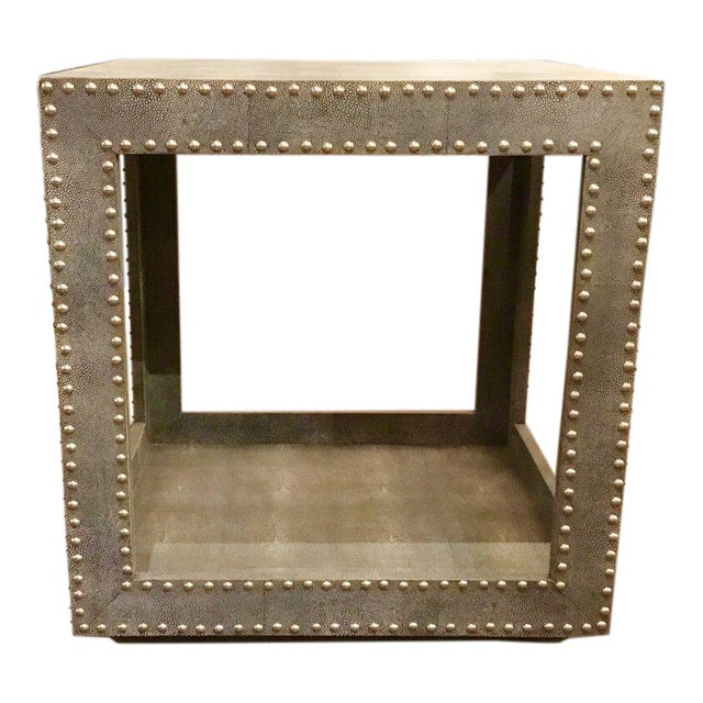 Regina Andrews Feaux Python Studded Accent Cube Table For Sale