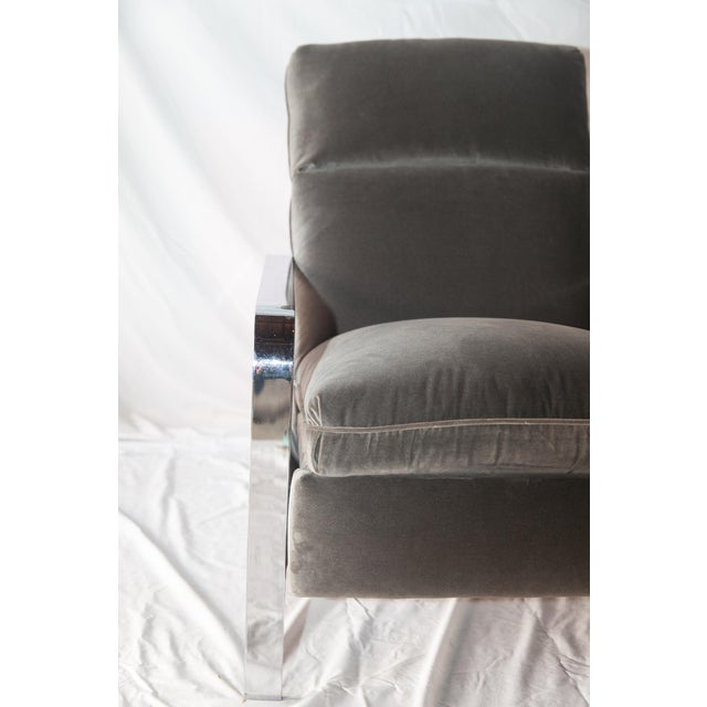 Milo Baughman Style Chrome Recliner - Image 3 of 4