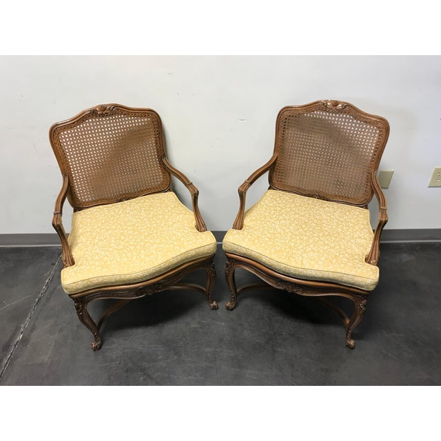 Carved French Style Open Armchairs with Cane Backs - A Pair - Image 3 of 11