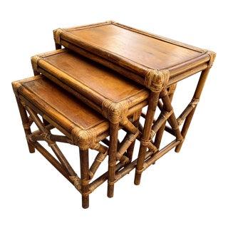 Vintage Rattan Fretwork Nesting Tables, Set of 3 For Sale