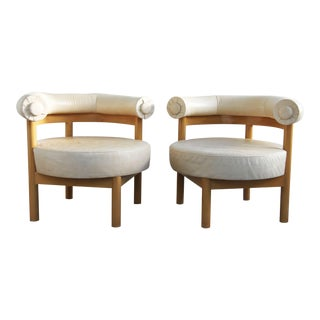 Vintage Camel Leather Chairs- a Pair