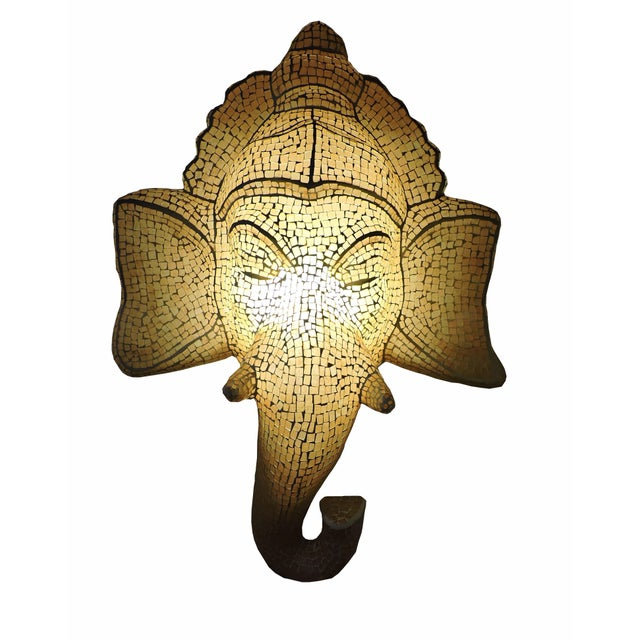 Early 21st Century Mosaic Inlaid Glass Ganesh Lamp For Sale - Image 5 of 5