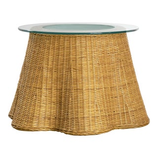 Wicker Drape Side Table With Removable Glass Top For Sale