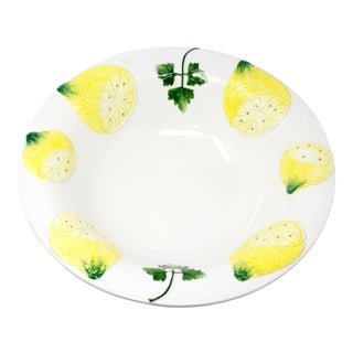 "Vintage Italian Majolica Ceramic 13"" Hand-Painted Bowl With Lemons and Parsley Italy For Sale"