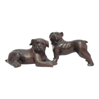 Vintage Bronze Bull Dog Figurines - a Pair For Sale