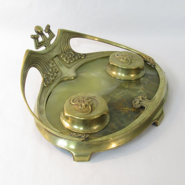 Art Deco Brass & Onyx Inkwell For Sale - Image 4 of 5