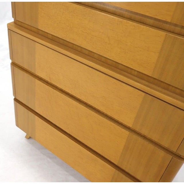 Wood Five Drawers Blond to Gold Mahogany Saarinen High Chest Dresser For Sale - Image 7 of 11