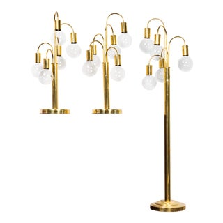 Mid Century Brass Waterfall Lamps - Set of 3 For Sale