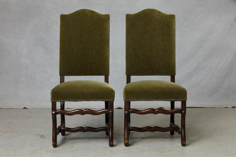 Late 19th Century Set Of Six French Louis XIV Style Os De Mouton Dining  Chairs In