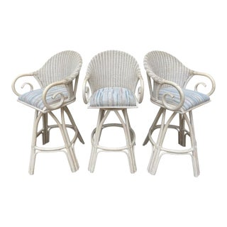 Bentwood Whitewash Wicker Rattan Swivel Bar Stools - Set of 3 For Sale