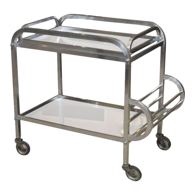 French Art Deco Aluminum Drinks Trolley with Removable Tray-Style of Adnet For Sale