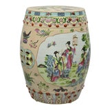 Image of Vintage Pink Porcelain Hand Painted Oriental Chinese Garden Seat Stool For Sale