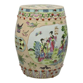 Vintage Pink Porcelain Hand Painted Oriental Chinese Garden Seat Stool For Sale