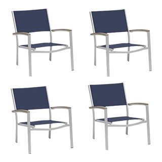 Outdoor Sling Lounge Chair, Vintage and Ink (Set of 4) For Sale