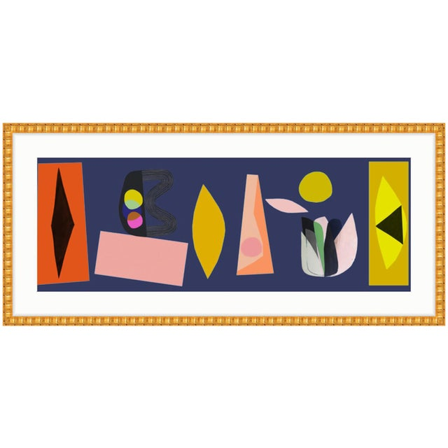 Gold Framed Abstract Colorful Cut-Outs Art Print - Image 1 of 3