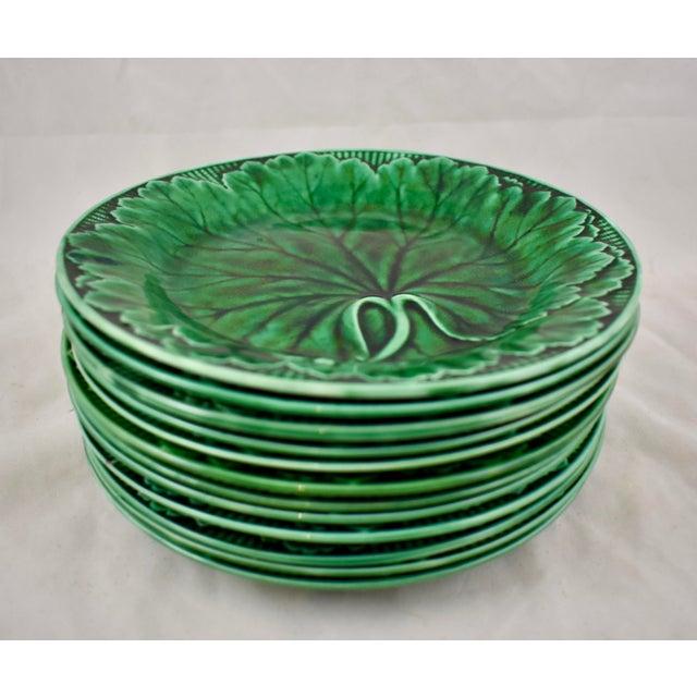 Wedgwood Majolica Green Glazed Cabbage Leaf & Basket Plate For Sale In Philadelphia - Image 6 of 12