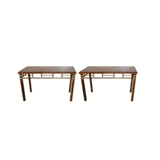 McGuire Bamboo and Rouge Marble-Top Console or Sofa Tables For Sale