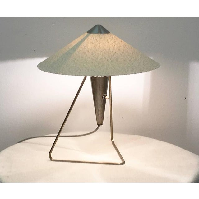 Gold Czech Modernist Table Lamp by Helena Frantova for Okolo, 1950s For Sale - Image 8 of 11