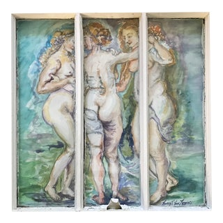 'The Three Graces' Original Watercolor Painted Framed Windows - Set of 3 For Sale