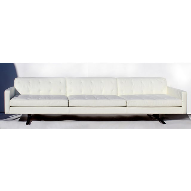 Over-Scale Poltona Frau 'Italy' Leather and Stainless Steel Sofa Offered for sale is a large and comfortable tufted...